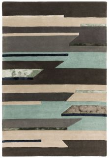geometric rug in grey, pink and blue
