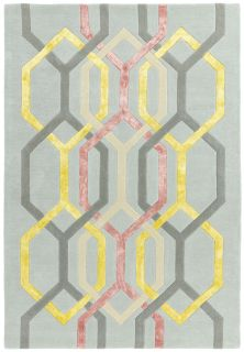 silver rug with a pastel geometric pattern