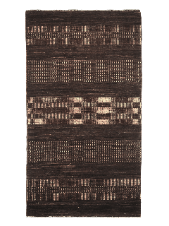 Authentic oriental rug with a striped design in brown