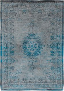 Grey and blue flatweave rug with faded persian design