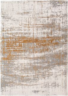 White flatweave rug with grey and yellow abstract pattern