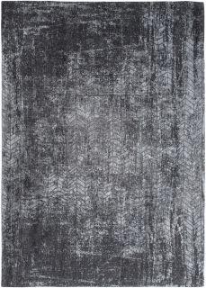 Black flatweave rug with faded grey chevron pattern