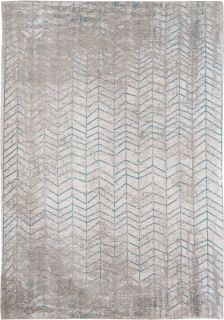 Ivory flatweave rug with faded blue chevron pattern