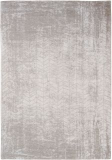Ivory flatweave rug with faded grey chevron pattern