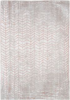 White flatweave rug with faded copper brown chevron pattern