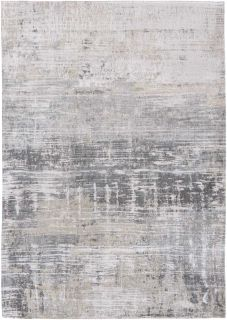 Flatweave rug with abstract stripe pattern in grey