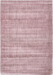 Pink rug with ethnic tribal pattern of stripes and chevrons