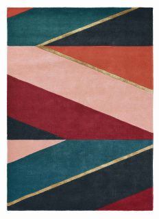 Rectangular rug with geometric stripe pattern in green, coral, nude and red. Gold details.