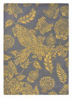 Rectangular grey rug with yellow bird and flower design