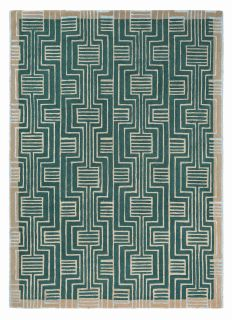 Rectangular green rug with beige border and grey art deco pattern