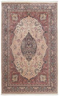 beige and brown Oriental rug with traditional tree of life pattern