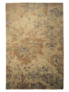 Authentic oriental rug with a damask pattern in beige and blue