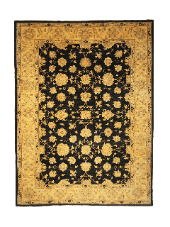 Authentic oriental rug with delicate floral pattern in black and gold