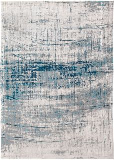 White flatweave rug with grey and blue abstract pattern