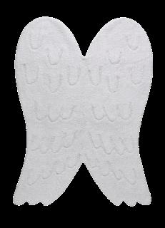 White cotton rug shaped like large angel wings