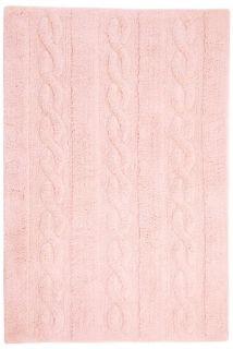 Rectangular pink rug with raised braided stripe design