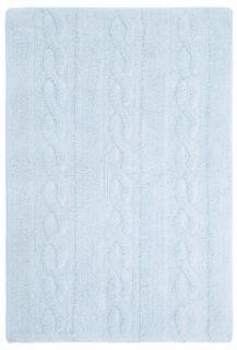 Rectangular blue rug with raised braided stripe design