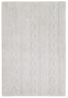 Rectangular pearl grey rug with raised braided stripe design