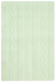 Rectangular mint green rug with raised braided stripe design