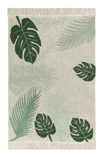 Rectangular beige cotton rug decorated with large green leaves and a fringed border