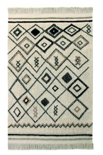 Rectangular beige cotton rug decorated with a black Moroccan tribal design and a fringed border