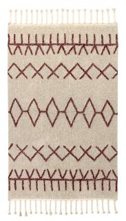 Rectangular beige cotton rug decorated with burgundy Moroccan tribal designs and a braided border