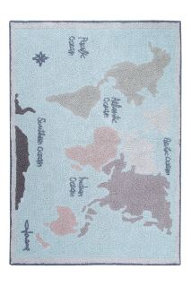 Rectangular cotton rug decorated with a pastel map of the world