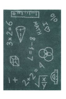 Rectangular green cotton rug decorated like a chalkboard, with white math equations and symbols