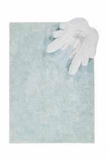 Rectangular blue cotton rug with detachable white cushion shaped like angel wings