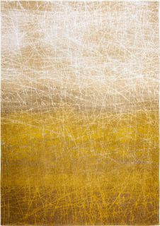 grey and yellow rug with gradient pattern and scratch mark design