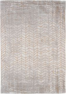 White flatweave rug with faded yellow chevron pattern