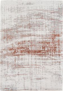 White flatweave rug with red abstract pattern