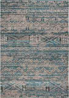 blue rug with a moroccan geometric pattern