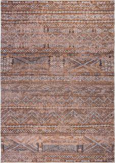 orange rug with a moroccan geometric pattern