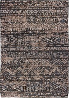 brown rug with a moroccan geometric pattern