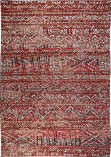 red rug with a moroccan geometric pattern