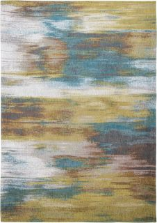 blue and beige abstract rug