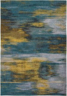 blue and yellow abstract rug