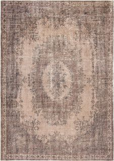 brown vintage style rug with a traditional design