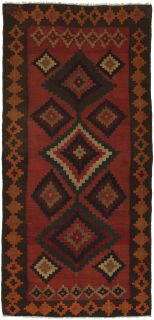 Authentic persian kelim flatweave rug with traditional stripe design in red, blue and black