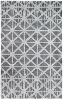 Large area rug with a geometric design in grey