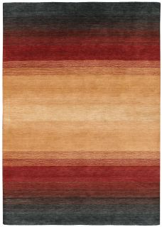 red and beige ombre rug