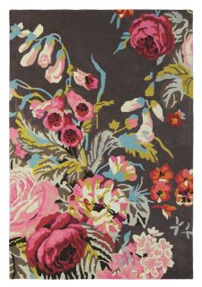 Rectangular grey rug with floral rose and leaf illustrations in grey, pink, green and blue
