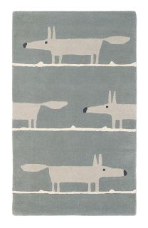 Pink rectangular rug decorated with white lines and a repeating grey fox pattern
