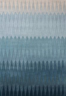 geometric rug with ombre blue design