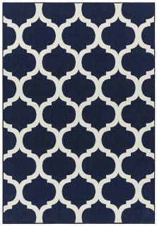 navy indoor/outdoor rug with trellis design