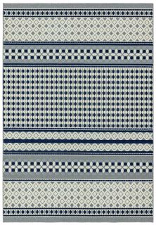geometric indoor/outdoor rug in blue and cream