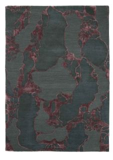 abstract rug in grey and burgundy