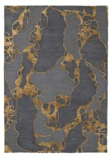 abstract rug in grey and ochre