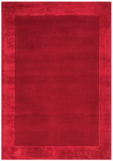red wool and viscose rug with a border design